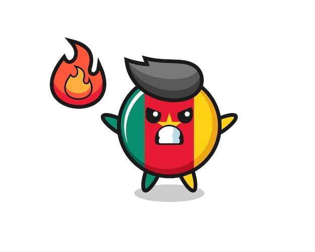 Kameroen vlag badge karakter cartoon met boos gebaar, schattig stijlontwerp voor t-shirt, sticker, logo-element