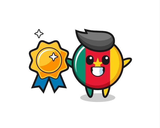 Kameroen vlag badge mascotte illustratie met een gouden badge, schattig stijlontwerp voor t-shirt, sticker, logo-element
