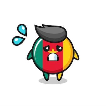 Kameroen vlag badge mascotte karakter met bang gebaar, schattig stijlontwerp voor t-shirt, sticker, logo-element