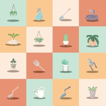 Kamerplanten en gereedschap tuinieren