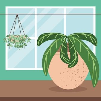 Kamerplanten gebladerte interieur