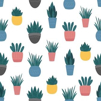 Kamerplanten in keramische potten naadloze patroon. Premium Vector