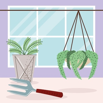 Kamerplanten interieur en hark