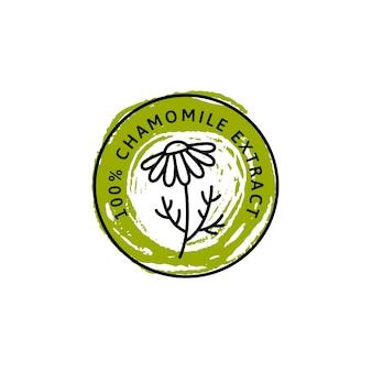 Kamille bloem badge en pictogram in trend lineaire en hand tekenen stijl - vector logo embleem van medische kamille kan worden gebruikt sjabloon voor het verpakken van thee, cosmetica, medicijnen, biologische additieven.