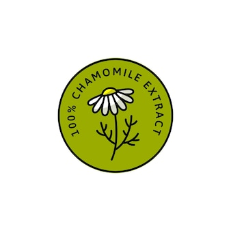 Kamille bloem kruiden biologische badge en pictogram in lineaire trendstijl - vector groen logo embleem van medische kamille kan worden gebruikt sjabloon voor het verpakken van thee, cosmetica, medicijnen, biologische additieven