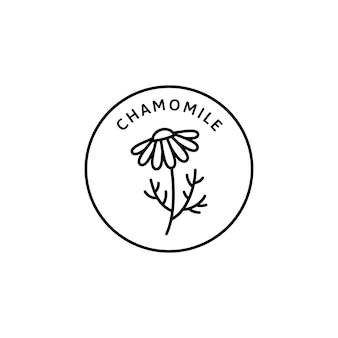 Kamille bloem kruiden biologische badge en pictogram in lineaire trendstijl - vector logo embleem van medische kamille kan worden gebruikt sjabloon voor het verpakken van thee, cosmetica, medicijnen, biologische additieven