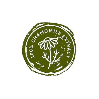 Kamille bloem kruiden biologische badge en pictogram in lineaire trendstijl - vector logo stempel van medische kamille kan worden gebruikt sjabloon voor het verpakken van thee, cosmetica, medicijnen, biologische additieven
