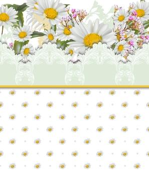 Kamille bloemen kaart. retro-stijl kant en bezaaid patroon vector