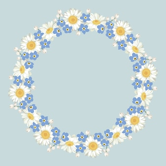 Kamille en vergeet me-niet-patroon op blauwe achtergrond. madeliefjesketting. rond frame