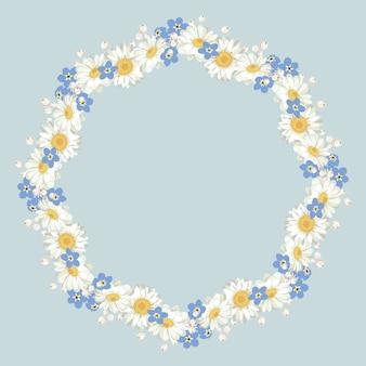 Kamille en vergeet me-niet-patroon op blauwe achtergrond. madeliefjesketting.