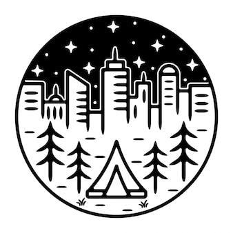 Kamp in de stad monoline outdoor logo-ontwerp