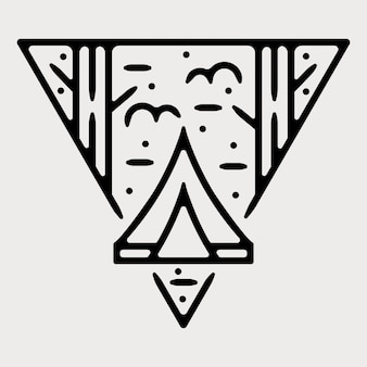 Kamp monoline vintage outdoor badge ontwerp