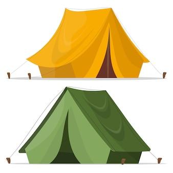 Kampeer tent. campingtent in geel en groen. tentontwerp over wit. toeristische tent.