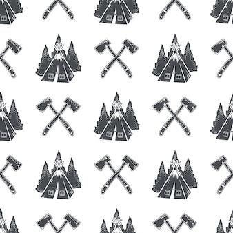 Kampeerpatroon met rugzak, bomen en dennenappelsymbolen. avontuur naadloos behang. voorraad vector geïsoleerd op een witte achtergrond. monochroom ontwerp.
