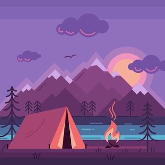 Kampeertent in het bos aan de rivier kleur vectorillustratie violet kleur platte camping