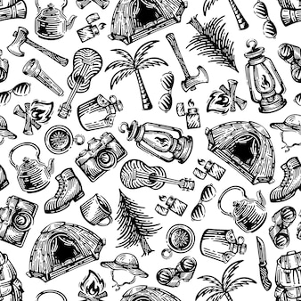 Kampeeruitrusting naadloze patronen. doodlesontwerp op witte achtergrond.