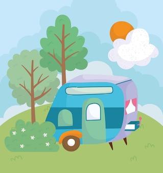 Kampeerwagen bloemen struik bomen gras zon wolk cartoon