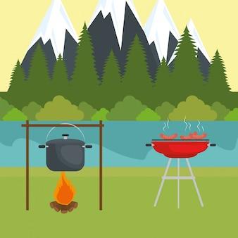 Kampeerzone met kookpotten en kampvuur