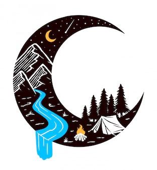 Kamperen bij nacht illustratie