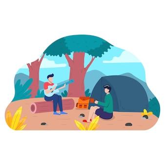 Kamperen buiten plat kamp zomerkampvuur vreugdevuur