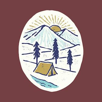 Kamperen en prachtige zonsopgang met rivier grafische illustratie vector kunst t-shirt design