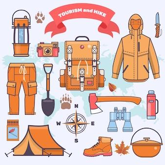 Kamperen en wandelen uitrusting en uitrusting vector pictogram collectie platte vectorillustratie