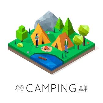 Kamperen in het bos. openluchtrecreatie nabij het meer. 3d lowpoly isometrische illustratie