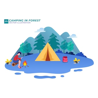 Kamperen in het bos zomervakantie