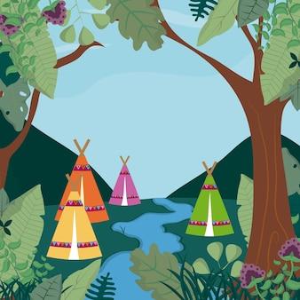 Kamperen in het bosbeeldverhaal