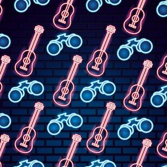 Kamperen in neon-stijl patroon
