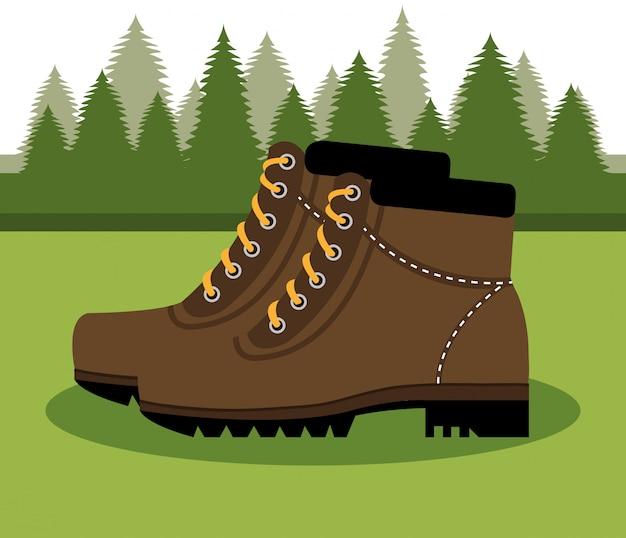 Kamperen laarzen schoenen geïsoleerd pictogram ontwerp