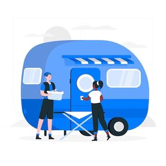 Kamperen met een caravan concept illustratie