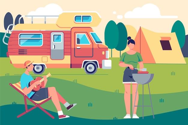 Kamperen met een caravan