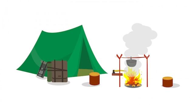 Kamperen met tent en overnachting in het weekend.