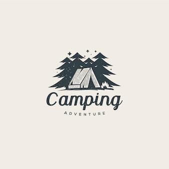 Kamperen midden in het bos logo sjabloon