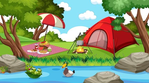 Kamperen of picknicken in het natuurpark overdag