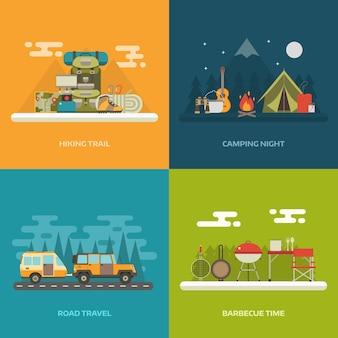 Kamperen, wandelen, reizen over de weg en picknick concept achtergrond met plaats voor tekst.