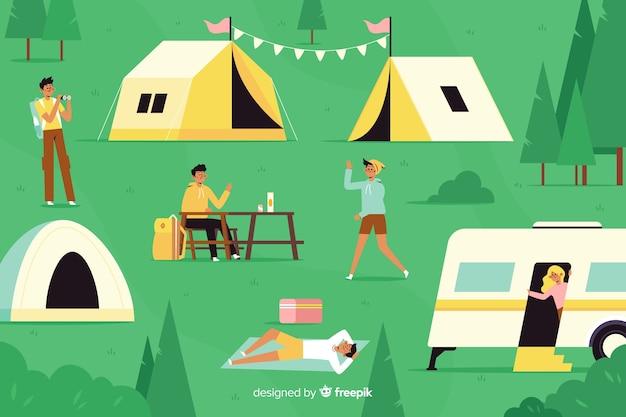 Kamperende mensen met auto's en tenten
