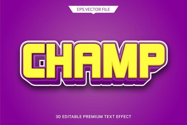 Kampioen 3d bewerkbare tekststijl effect premium vector