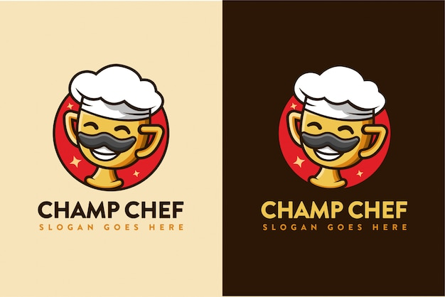 Kampioen chef-kok cartoon logo