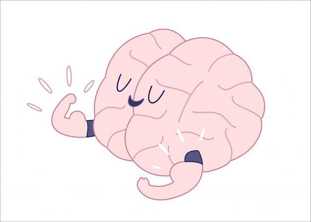 Kampioen de hersenen tonen het is biceps plat geschetst cartoon illustratie