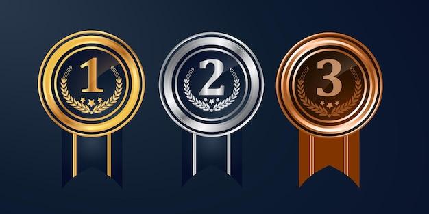 Kampioen gouden zilveren en bronzen award medailles set met rode linten vector