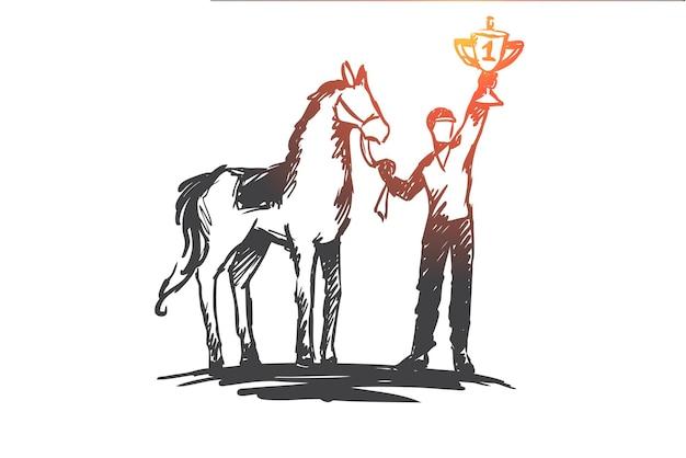 Kampioen, paardrijden, competitie, sport, raceconcept. hand getekende jockey met winnaar beker concept schets.