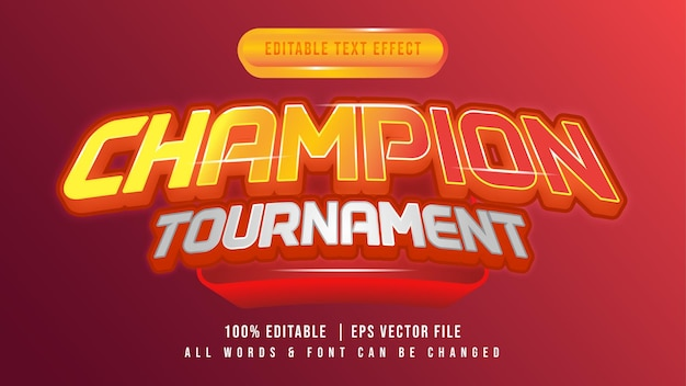 Kampioen toernooi glanzend 3d-tekststijleffect. bewerkbare sportieve toernooi-illustrator tekststijl.