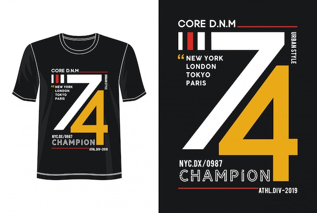 Kampioen typografie voor print t-shirt