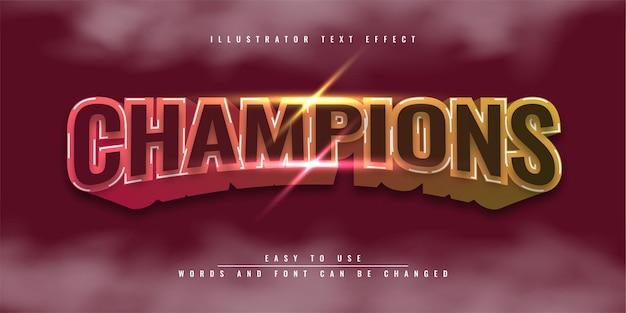 Kampioenen kleurrijk bewerkbaar 3d teksteffect illustratie sjabloonontwerp