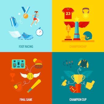 Kampioenschappen pictogrammen plat