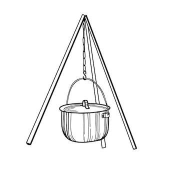 Kamppottoerist om op een vuur te koken