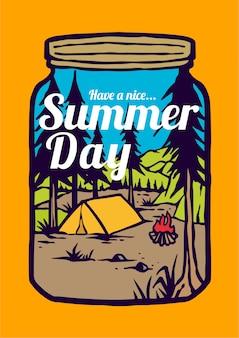 Kampvuur op de de zomerdagen op berglandschap en bos met retro vectorillustratie