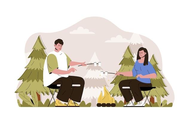 Kampvuur web concept illustratie met platte mensen character